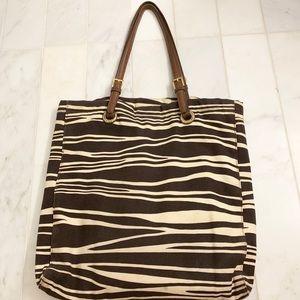 Michael Kors — leather and canvas zebra bag